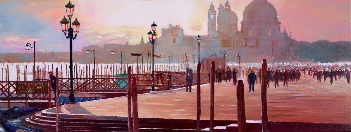 Early Morning Wander, Venice by hilary burnett cooper -  sized 36x14 inches. Available from Whitewall Galleries
